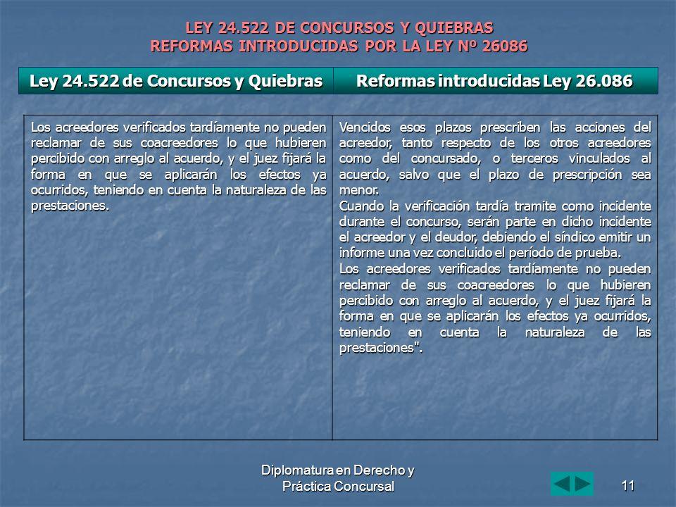 Diplomatura en Derecho y Práctica Concursal11 LEY 24.522 DE CONCURSOS Y QUIEBRAS REFORMAS INTRODUCIDAS POR LA LEY Nº 26086 Los acreedores verificados