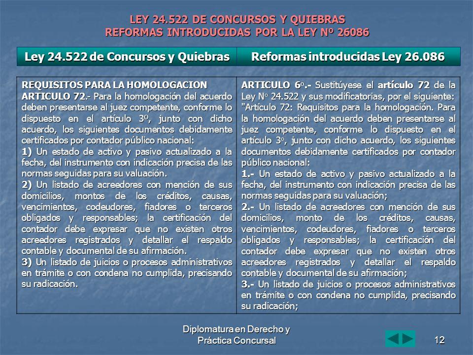 Diplomatura en Derecho y Práctica Concursal12 LEY 24.522 DE CONCURSOS Y QUIEBRAS REFORMAS INTRODUCIDAS POR LA LEY Nº 26086 REQUISITOS PARA LA HOMOLOGA