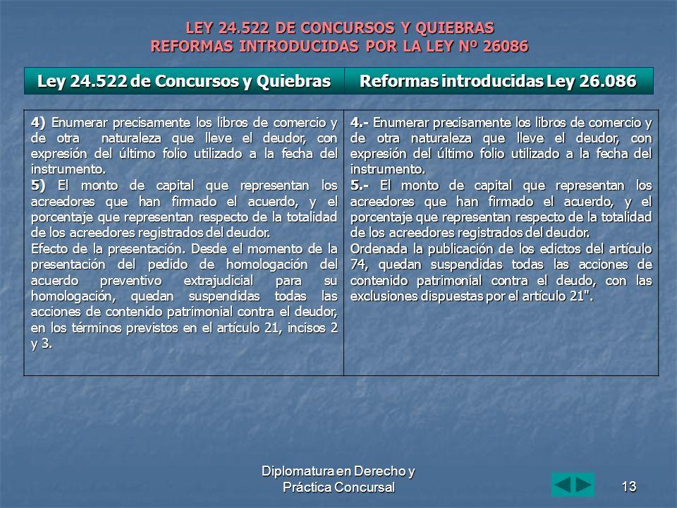 Diplomatura en Derecho y Práctica Concursal13 LEY 24.522 DE CONCURSOS Y QUIEBRAS REFORMAS INTRODUCIDAS POR LA LEY Nº 26086 4) Enumerar precisamente lo