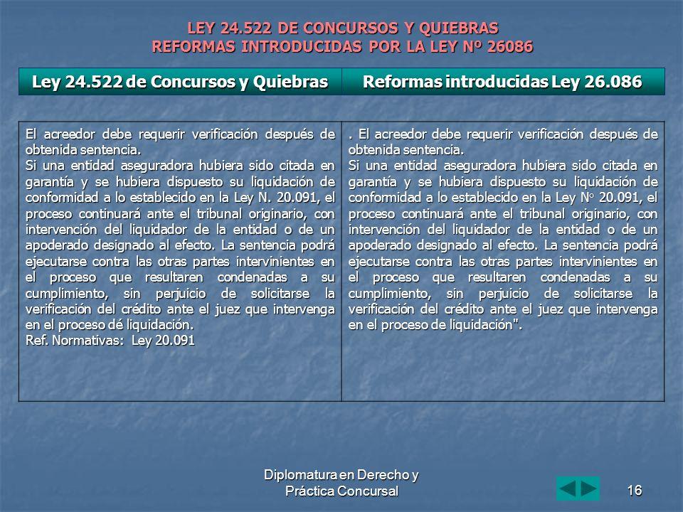 Diplomatura en Derecho y Práctica Concursal16 LEY 24.522 DE CONCURSOS Y QUIEBRAS REFORMAS INTRODUCIDAS POR LA LEY Nº 26086 El acreedor debe requerir verificación después de obtenida sentencia.