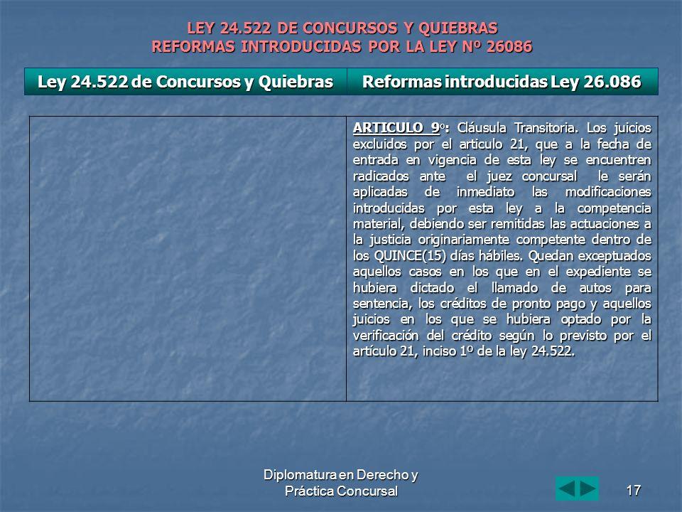 Diplomatura en Derecho y Práctica Concursal17 LEY 24.522 DE CONCURSOS Y QUIEBRAS REFORMAS INTRODUCIDAS POR LA LEY Nº 26086 ARTICULO 9°: Cláusula Transitoria.