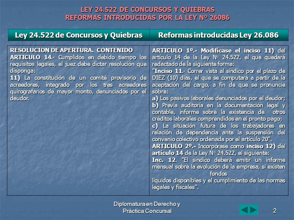 Diplomatura en Derecho y Práctica Concursal2 LEY 24.522 DE CONCURSOS Y QUIEBRAS REFORMAS INTRODUCIDAS POR LA LEY Nº 26086 Ley 24.522 de Concursos y Quiebras RESOLUCION DE APERTURA.