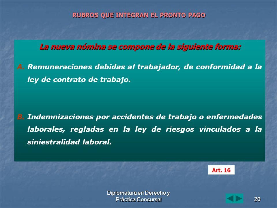 Diplomatura en Derecho y Práctica Concursal20 RUBROS QUE INTEGRAN EL PRONTO PAGO La nueva nómina se compone de la siguiente forma: A. A.Remuneraciones