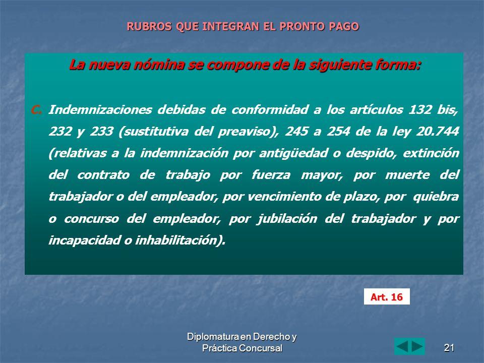 Diplomatura en Derecho y Práctica Concursal21 RUBROS QUE INTEGRAN EL PRONTO PAGO La nueva nómina se compone de la siguiente forma: C. C.Indemnizacione