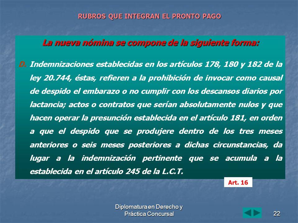 Diplomatura en Derecho y Práctica Concursal22 RUBROS QUE INTEGRAN EL PRONTO PAGO La nueva nómina se compone de la siguiente forma: D. D.Indemnizacione