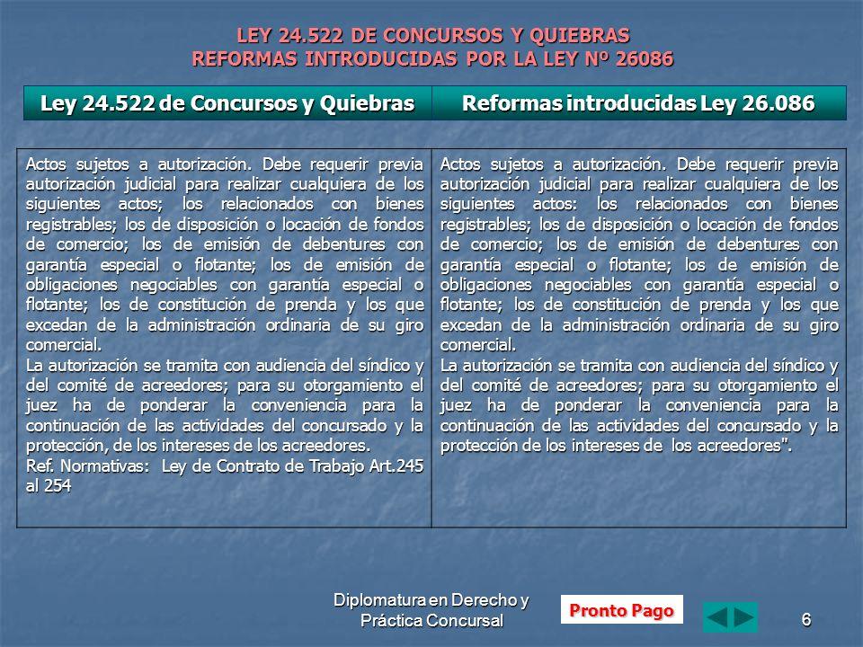 Diplomatura en Derecho y Práctica Concursal6 LEY 24.522 DE CONCURSOS Y QUIEBRAS REFORMAS INTRODUCIDAS POR LA LEY Nº 26086 Actos sujetos a autorización.