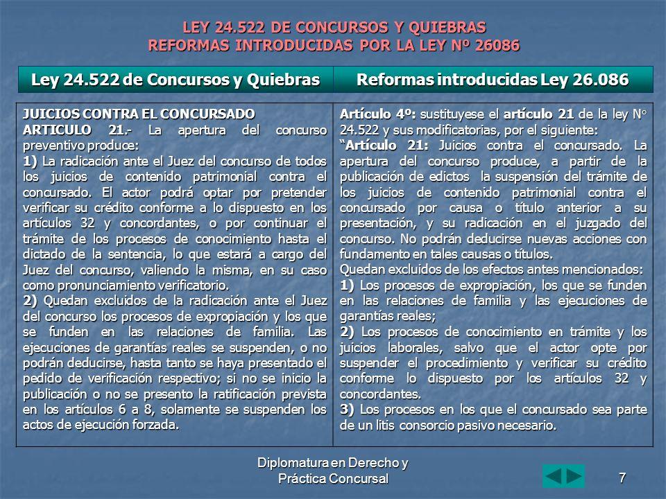 Diplomatura en Derecho y Práctica Concursal7 LEY 24.522 DE CONCURSOS Y QUIEBRAS REFORMAS INTRODUCIDAS POR LA LEY Nº 26086 JUICIOS CONTRA EL CONCURSADO