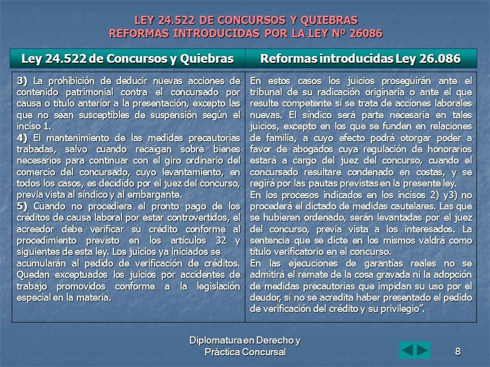 Diplomatura en Derecho y Práctica Concursal8 LEY 24.522 DE CONCURSOS Y QUIEBRAS REFORMAS INTRODUCIDAS POR LA LEY Nº 26086 3) La prohibición de deducir