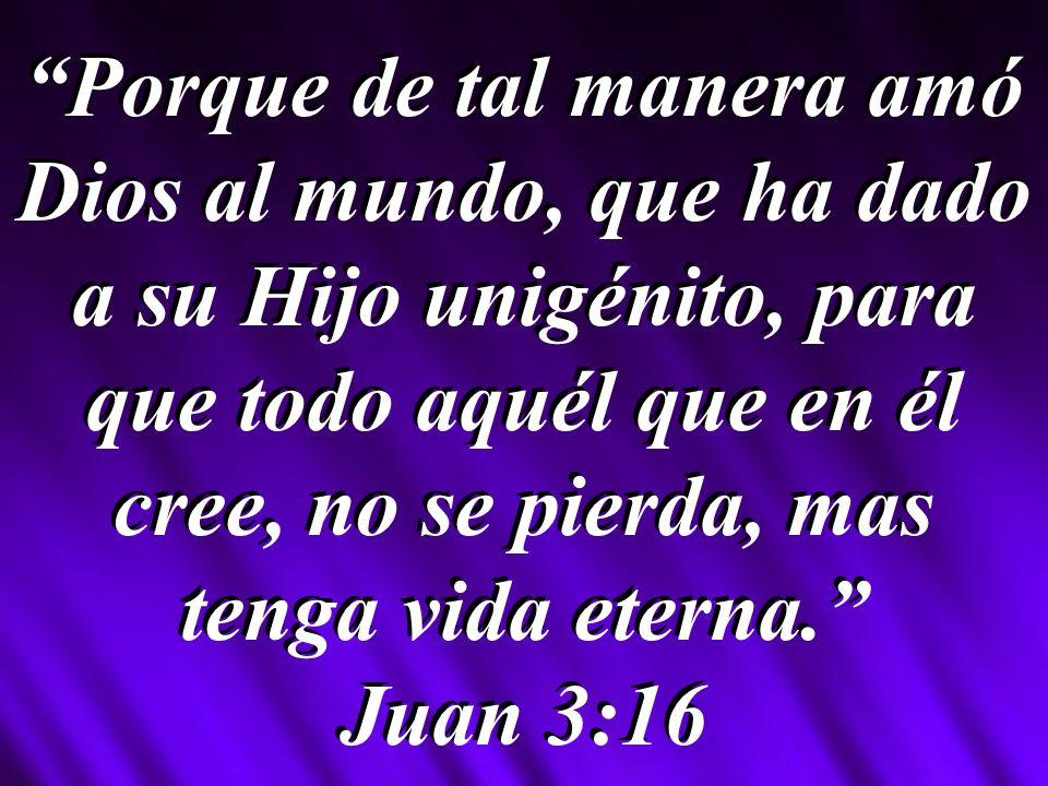 Porque de tal manera amó Dios al mundo, que ha dado a su Hijo unigénito, para que todo aquél que en él cree, no se pierda, mas tenga vida eterna.