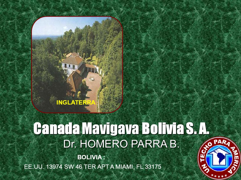 Canada Mavigava Venezuela S.A. VENEZUELA : MARRUECOS EE.UU. 13974 SW 46 TER APT A MIAMI, FL 33175