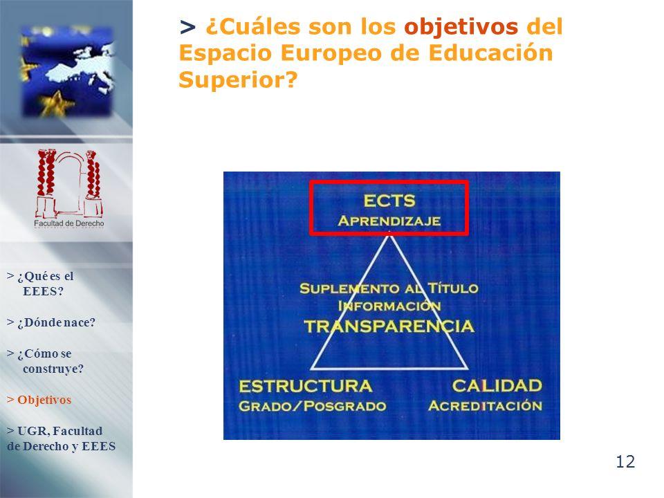 12 > ¿Cuáles son los objetivos del Espacio Europeo de Educación Superior? > ¿Qué es el EEES? > ¿Dónde nace? > ¿Cómo se construye? > Objetivos > UGR, F