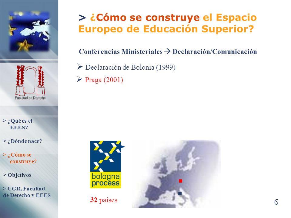 6 > ¿Cómo se construye el Espacio Europeo de Educación Superior? Declaración de Bolonia (1999) Conferencias Ministeriales Declaración/Comunicación 32
