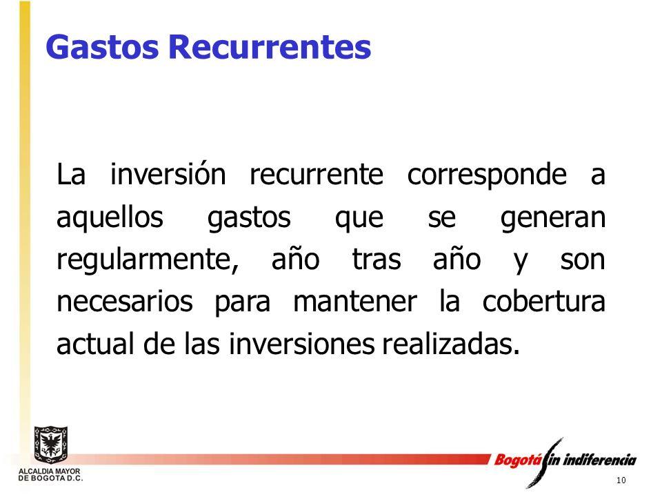 10 La inversión recurrente corresponde a aquellos gastos que se generan regularmente, año tras año y son necesarios para mantener la cobertura actual