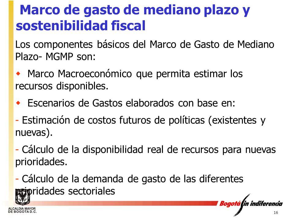 16 Los componentes básicos del Marco de Gasto de Mediano Plazo- MGMP son: Marco Macroeconómico que permita estimar los recursos disponibles. Escenario