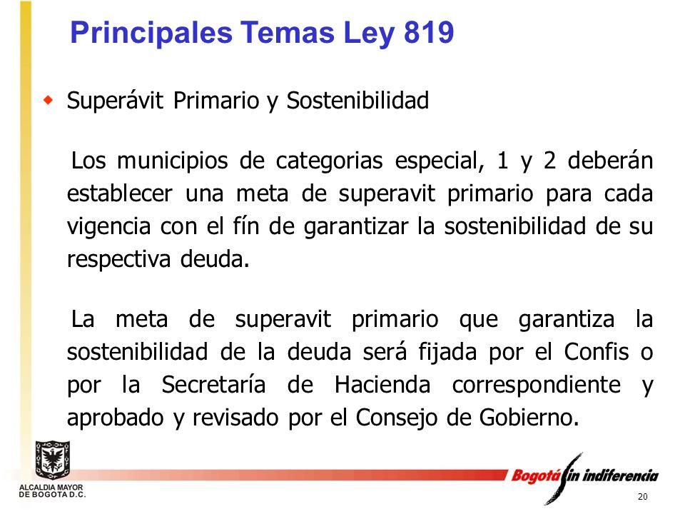 20 Superávit Primario y Sostenibilidad Los municipios de categorias especial, 1 y 2 deberán establecer una meta de superavit primario para cada vigenc