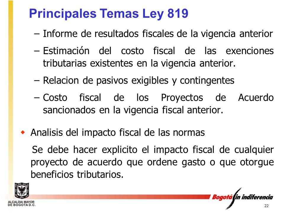 22 –Informe de resultados fiscales de la vigencia anterior –Estimación del costo fiscal de las exenciones tributarias existentes en la vigencia anteri