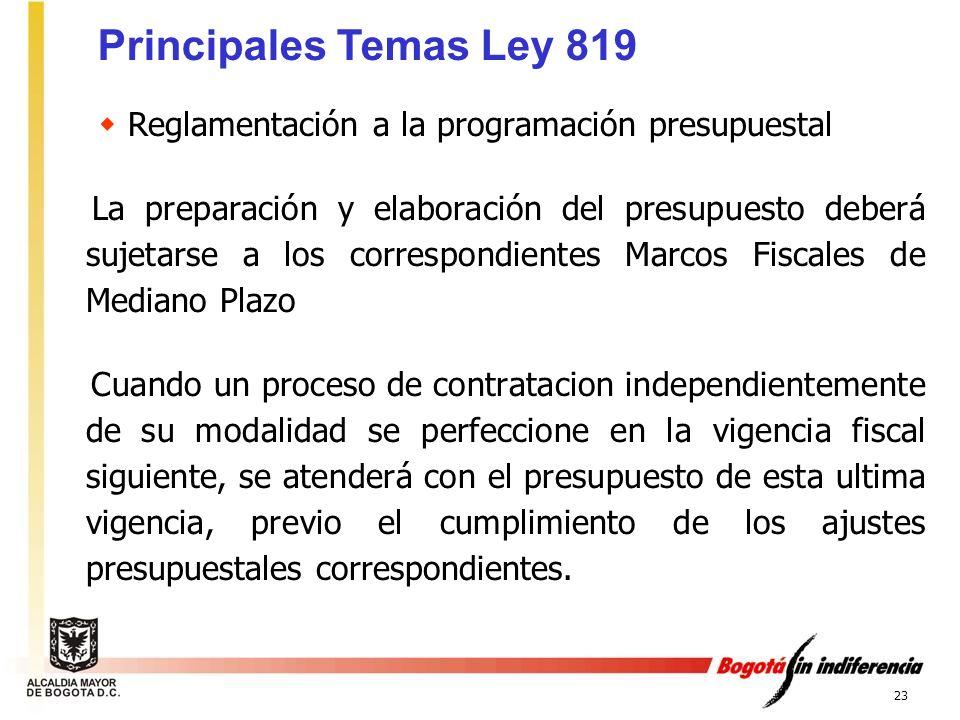 23 Reglamentación a la programación presupuestal La preparación y elaboración del presupuesto deberá sujetarse a los correspondientes Marcos Fiscales