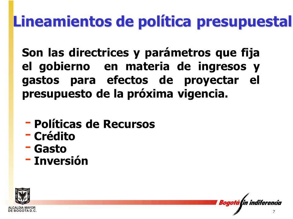 7 Lineamientos de política presupuestal - Políticas de Recursos - Crédito - Gasto - Inversión Son las directrices y parámetros que fija el gobierno en