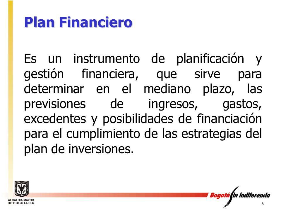 8 Plan Financiero Es un instrumento de planificación y gestión financiera, que sirve para determinar en el mediano plazo, las previsiones de ingresos,