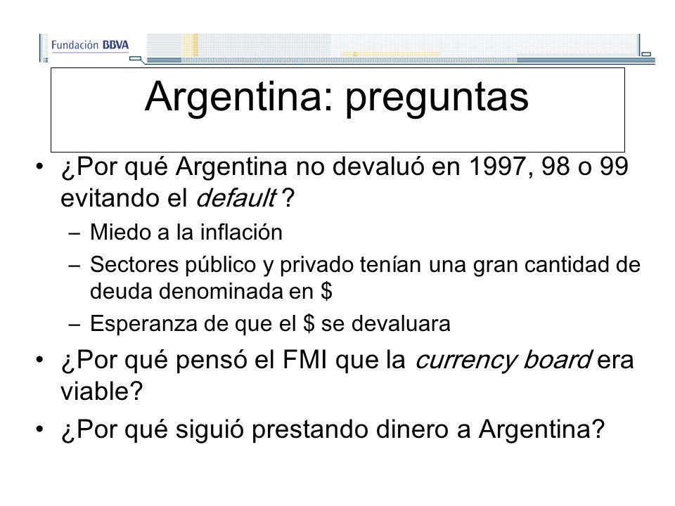 Argentina: preguntas ¿Por qué Argentina no devaluó en 1997, 98 o 99 evitando el default .
