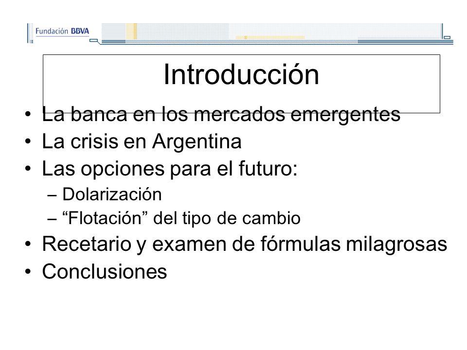 Introducción La banca en los mercados emergentes La crisis en Argentina Las opciones para el futuro: –Dolarización –Flotación del tipo de cambio Recetario y examen de fórmulas milagrosas Conclusiones