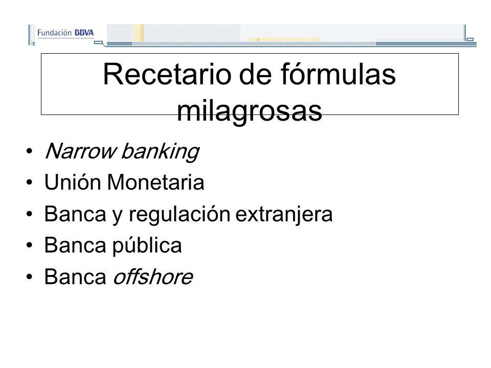 Recetario de fórmulas milagrosas Narrow banking Unión Monetaria Banca y regulación extranjera Banca pública Banca offshore