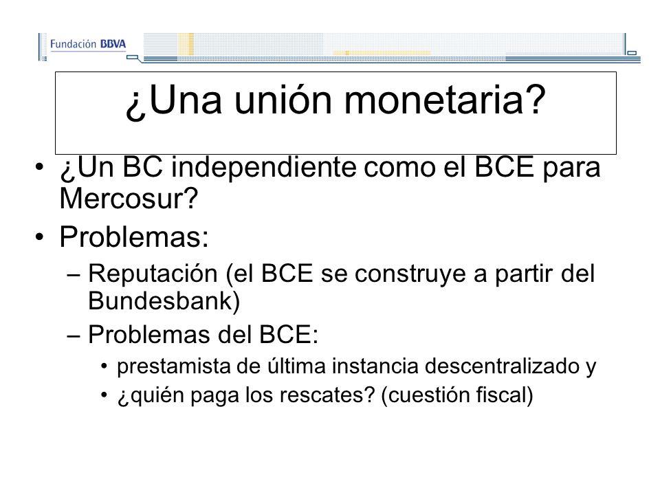 ¿Una unión monetaria. ¿Un BC independiente como el BCE para Mercosur.