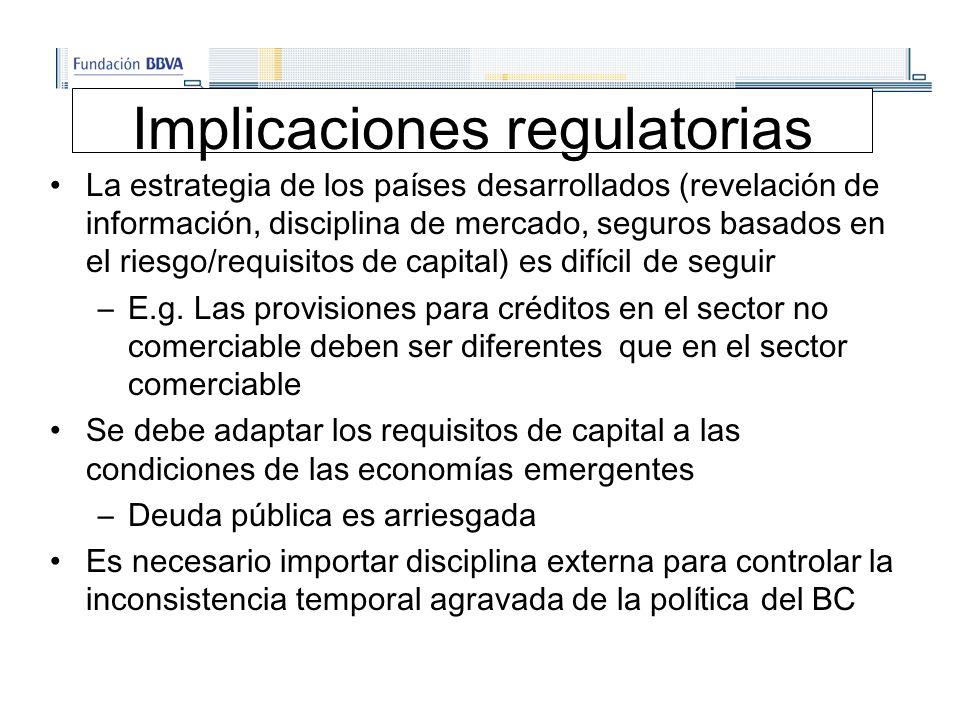 Implicaciones regulatorias La estrategia de los países desarrollados (revelación de información, disciplina de mercado, seguros basados en el riesgo/requisitos de capital) es difícil de seguir –E.g.