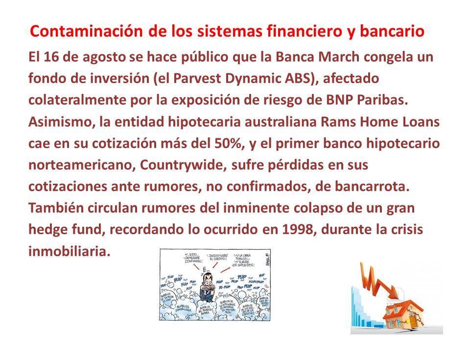 Contaminación de los sistemas financiero y bancario El 16 de agosto se hace público que la Banca March congela un fondo de inversión (el Parvest Dynam