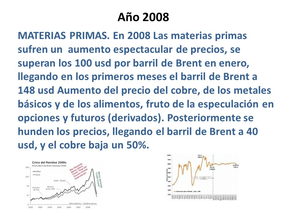 Año 2008 MATERIAS PRIMAS. En 2008 Las materias primas sufren un aumento espectacular de precios, se superan los 100 usd por barril de Brent en enero,