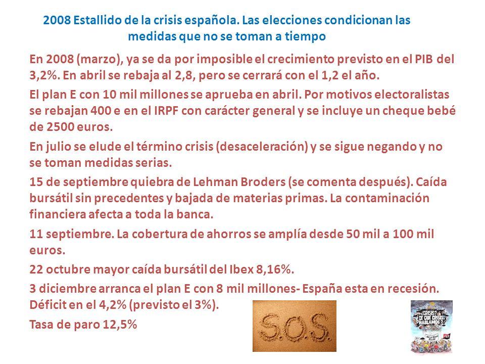 2008 Estallido de la crisis española. Las elecciones condicionan las medidas que no se toman a tiempo En 2008 (marzo), ya se da por imposible el creci