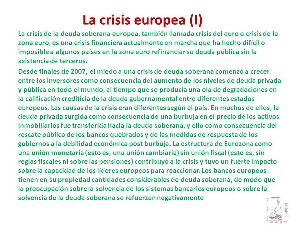 La crisis europea (I) La crisis de la deuda soberana europea, también llamada crisis del euro o crisis de la zona euro, es una crisis financiera actua