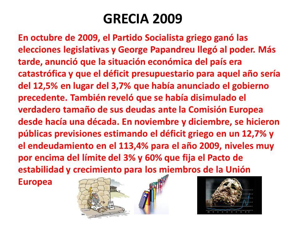 GRECIA 2009 En octubre de 2009, el Partido Socialista griego ganó las elecciones legislativas y George Papandreu llegó al poder. Más tarde, anunció qu