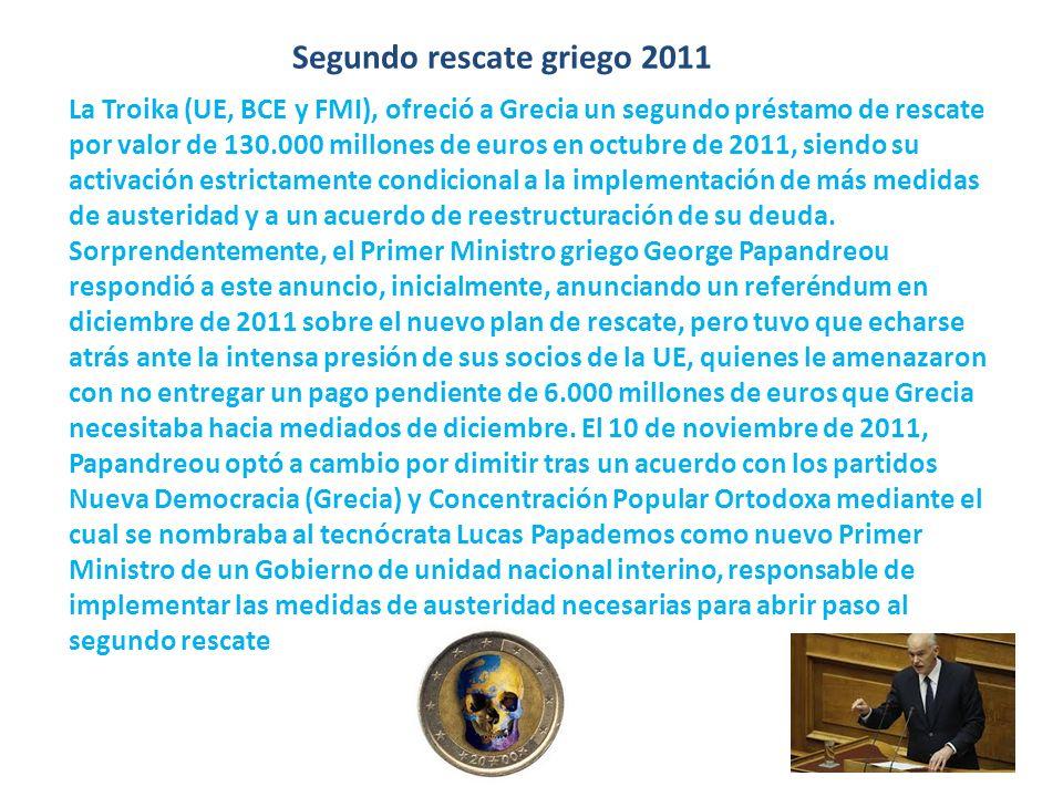 Segundo rescate griego 2011 La Troika (UE, BCE y FMI), ofreció a Grecia un segundo préstamo de rescate por valor de 130.000 millones de euros en octub