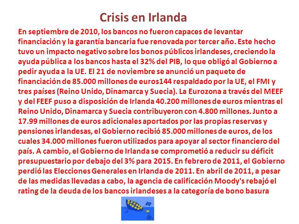 Crisis en Irlanda En septiembre de 2010, los bancos no fueron capaces de levantar financiación y la garantía bancaria fue renovada por tercer año. Est