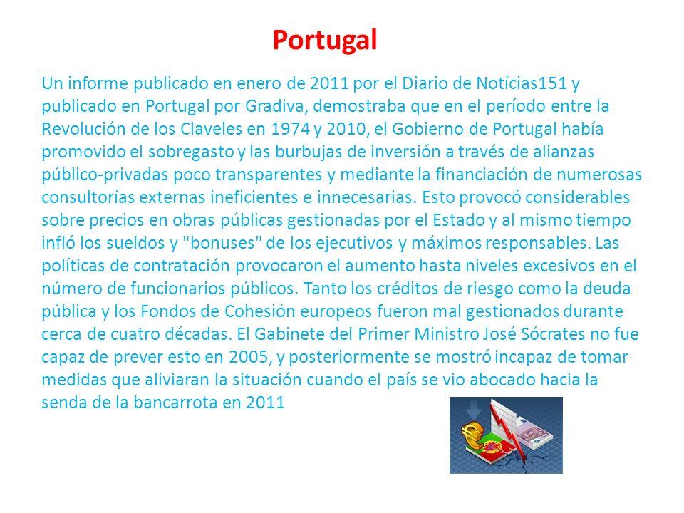 Portugal Un informe publicado en enero de 2011 por el Diario de Notícias151 y publicado en Portugal por Gradiva, demostraba que en el período entre la