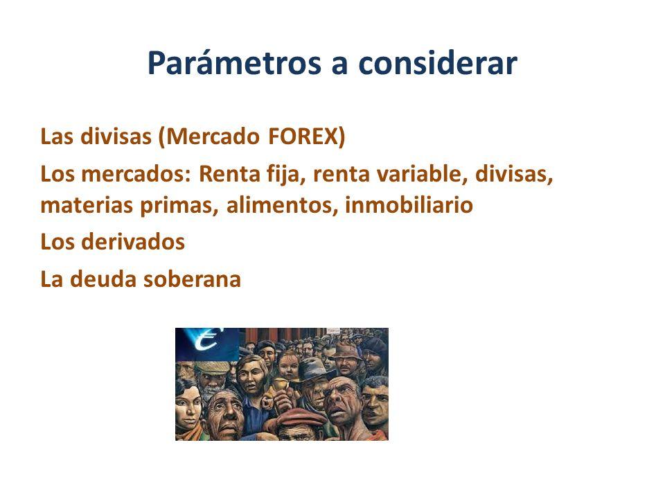 Parámetros a considerar Las divisas (Mercado FOREX) Los mercados: Renta fija, renta variable, divisas, materias primas, alimentos, inmobiliario Los de