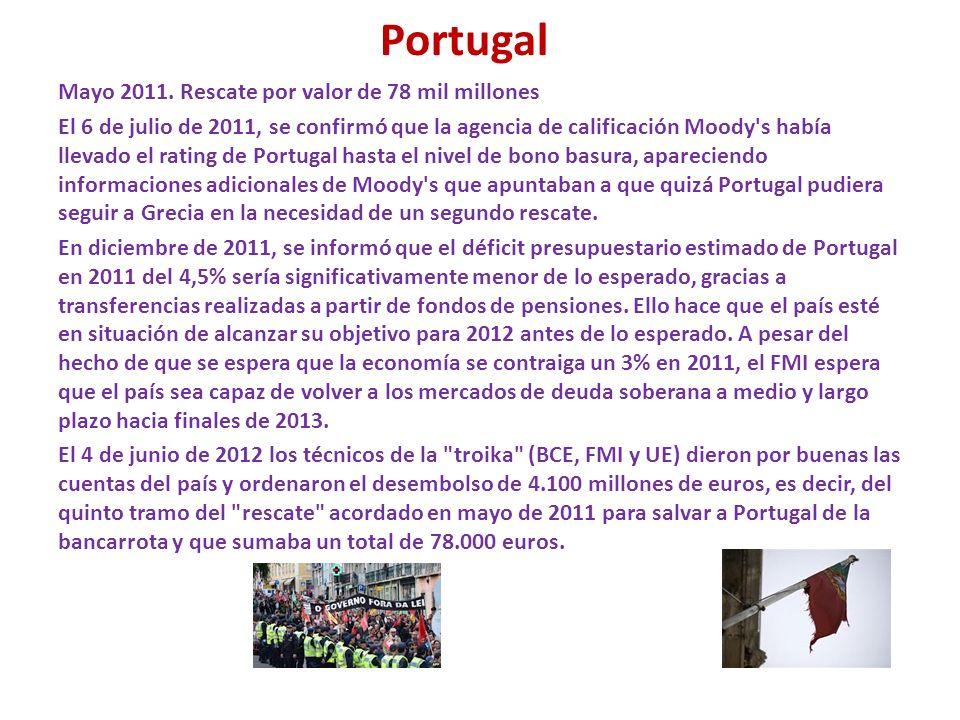 Portugal Mayo 2011. Rescate por valor de 78 mil millones El 6 de julio de 2011, se confirmó que la agencia de calificación Moody's había llevado el ra