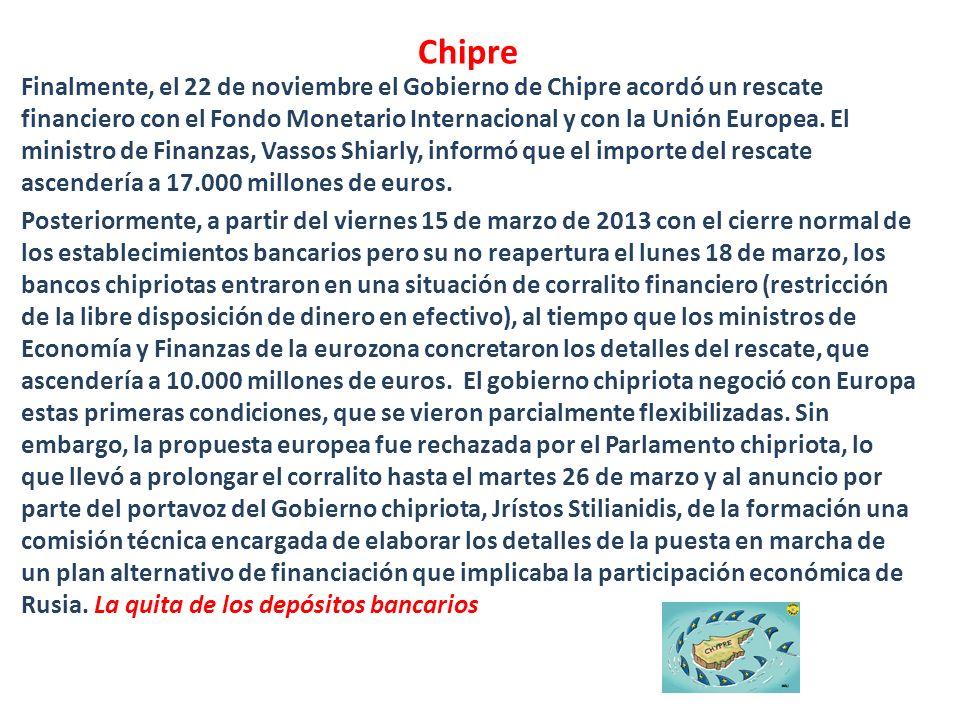 Chipre Finalmente, el 22 de noviembre el Gobierno de Chipre acordó un rescate financiero con el Fondo Monetario Internacional y con la Unión Europea.