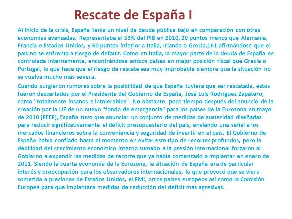 Rescate de España I Al inicio de la crisis, España tenía un nivel de deuda pública bajo en comparación con otras economías avanzadas. Representaba el