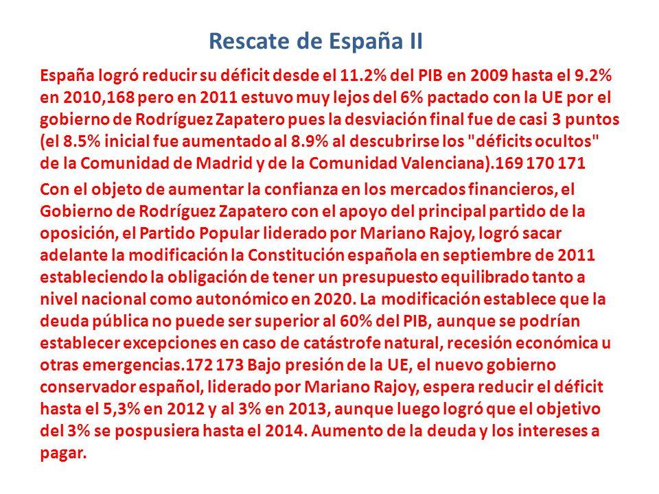 Rescate de España II España logró reducir su déficit desde el 11.2% del PIB en 2009 hasta el 9.2% en 2010,168 pero en 2011 estuvo muy lejos del 6% pac