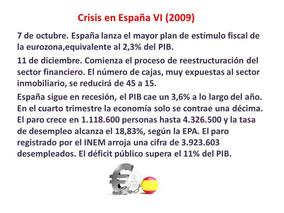 Crisis en España VI (2009) 7 de octubre. España lanza el mayor plan de estímulo fiscal de la eurozona,equivalente al 2,3% del PIB. 11 de diciembre. Co