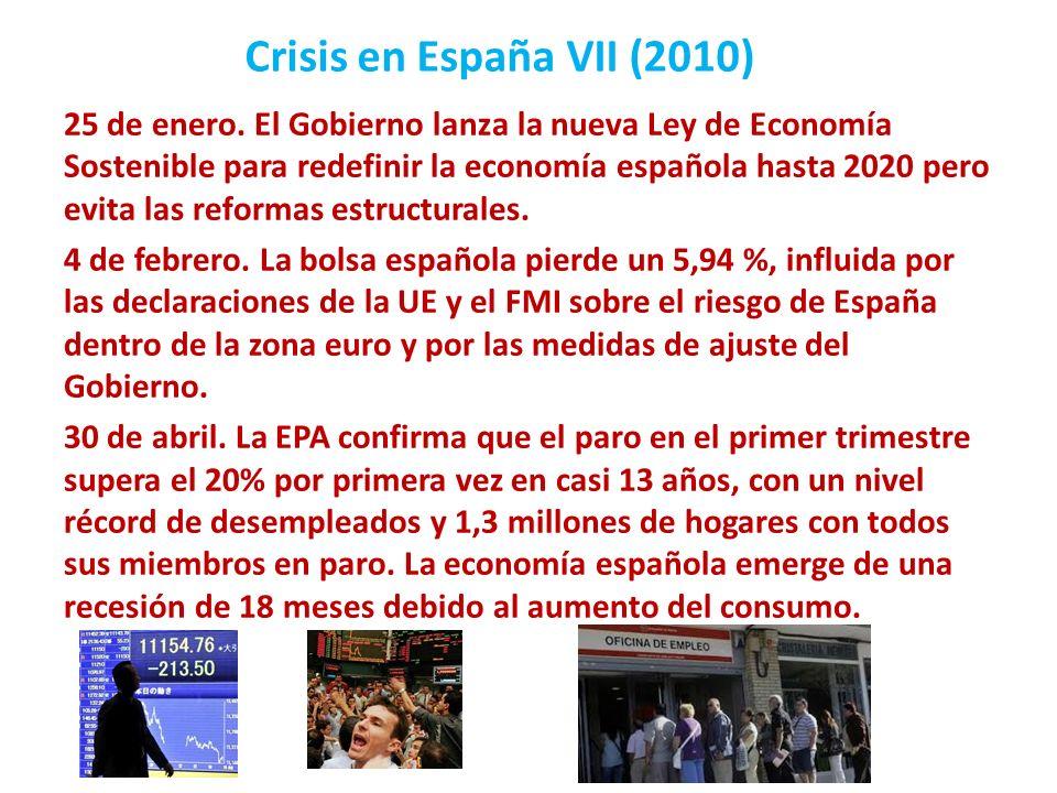 Crisis en España VII (2010) 25 de enero. El Gobierno lanza la nueva Ley de Economía Sostenible para redefinir la economía española hasta 2020 pero evi