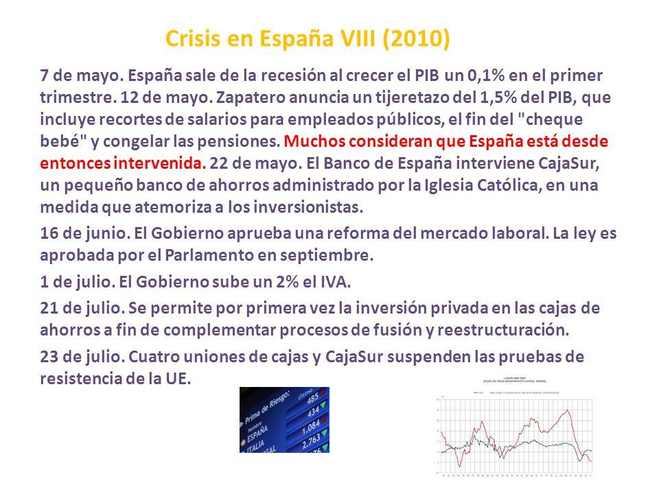 Crisis en España VIII (2010) 7 de mayo. España sale de la recesión al crecer el PIB un 0,1% en el primer trimestre. 12 de mayo. Zapatero anuncia un ti