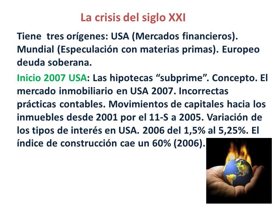 La crisis del siglo XXI Tiene tres orígenes: USA (Mercados financieros). Mundial (Especulación con materias primas). Europeo deuda soberana. Inicio 20