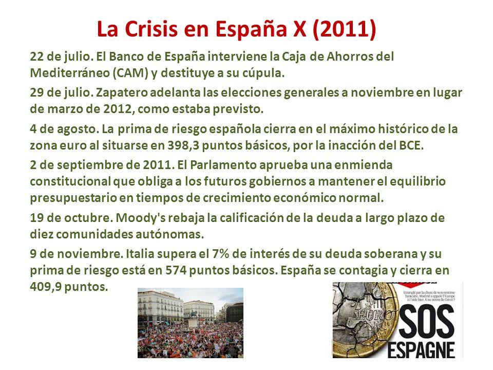La Crisis en España X (2011) 22 de julio. El Banco de España interviene la Caja de Ahorros del Mediterráneo (CAM) y destituye a su cúpula. 29 de julio