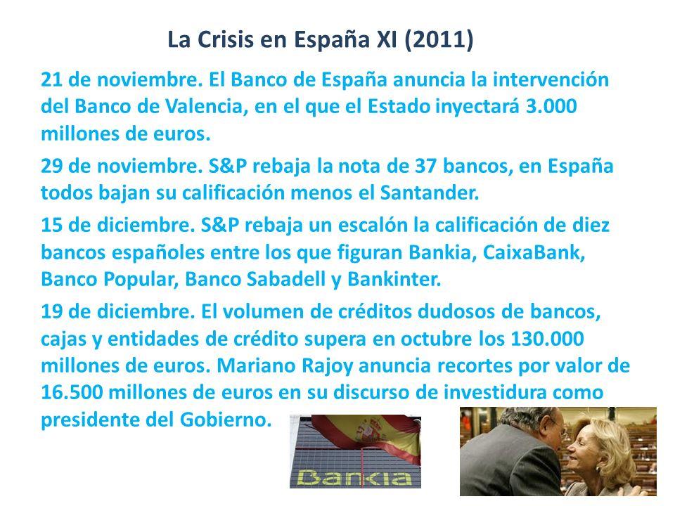 La Crisis en España XI (2011) 21 de noviembre. El Banco de España anuncia la intervención del Banco de Valencia, en el que el Estado inyectará 3.000 m