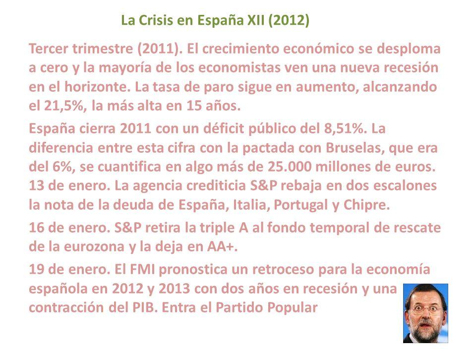 La Crisis en España XII (2012) Tercer trimestre (2011). El crecimiento económico se desploma a cero y la mayoría de los economistas ven una nueva rece