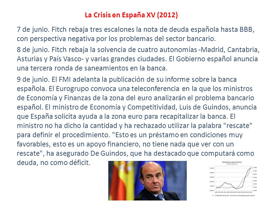 La Crisis en España XV (2012) 7 de junio. Fitch rebaja tres escalones la nota de deuda española hasta BBB, con perspectiva negativa por los problemas