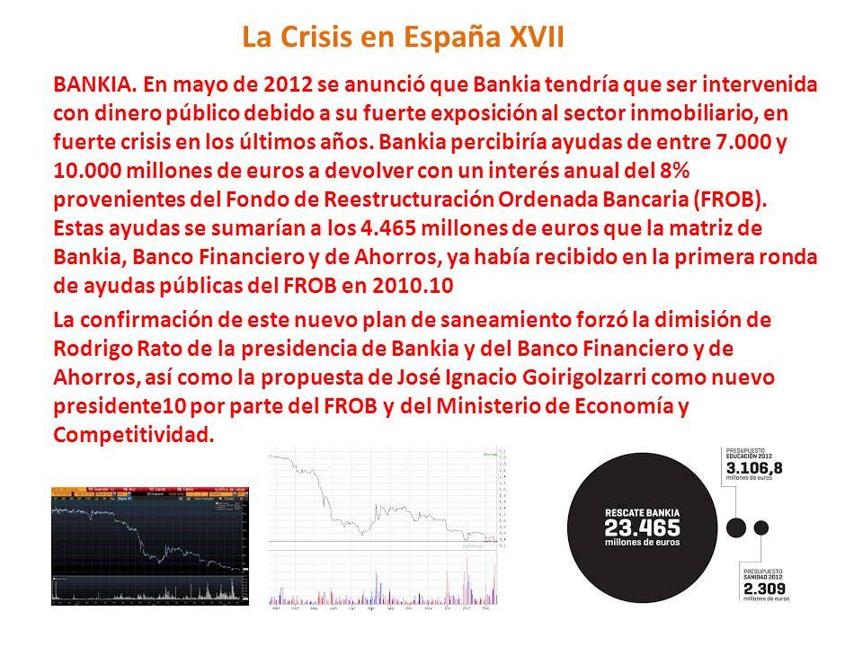 La Crisis en España XVII BANKIA. En mayo de 2012 se anunció que Bankia tendría que ser intervenida con dinero público debido a su fuerte exposición al
